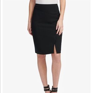 DKNY Navy Side Slit Pencil Skirt- ChicEwe